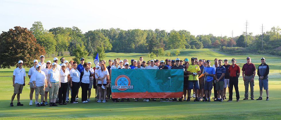 Participants pose with CAN Golf Outing poster
