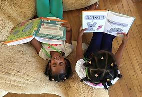 Two girls read Elephant & Piggy books