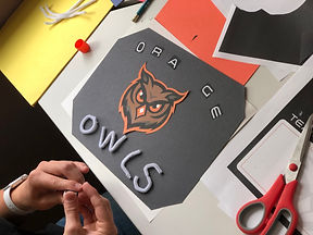 Summer camp team sign, the orange owls