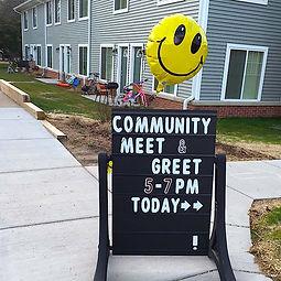 Community meet & greet sign