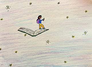 Student's drawing of girl on book floating in the sky