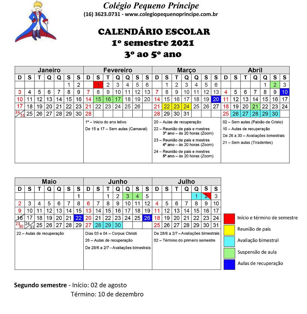 CALENDÁRIO - 3º a 5º ano - PRIMEIRO SEM