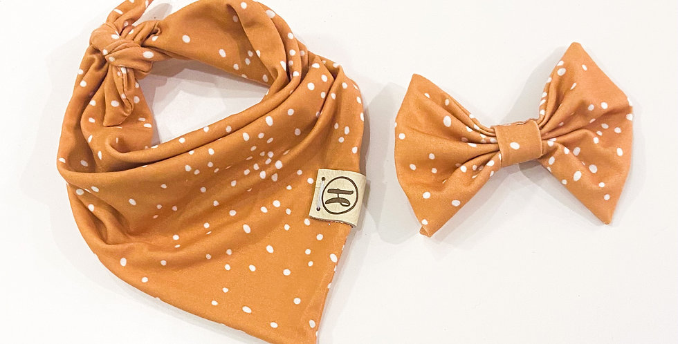 Mustard Dots Clip Bow Set (size extra small)