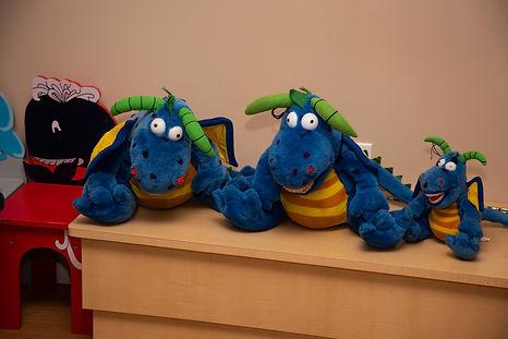 Stuffed animals in pediatric room