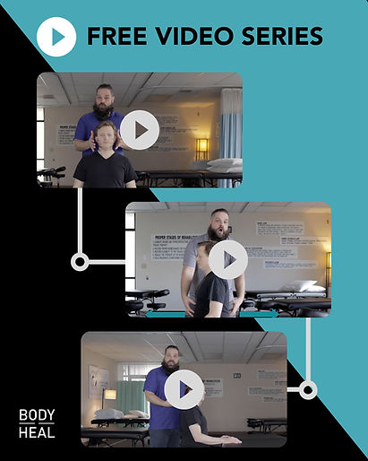 three thumbnails of a video series to help people get rid of tech neck forever