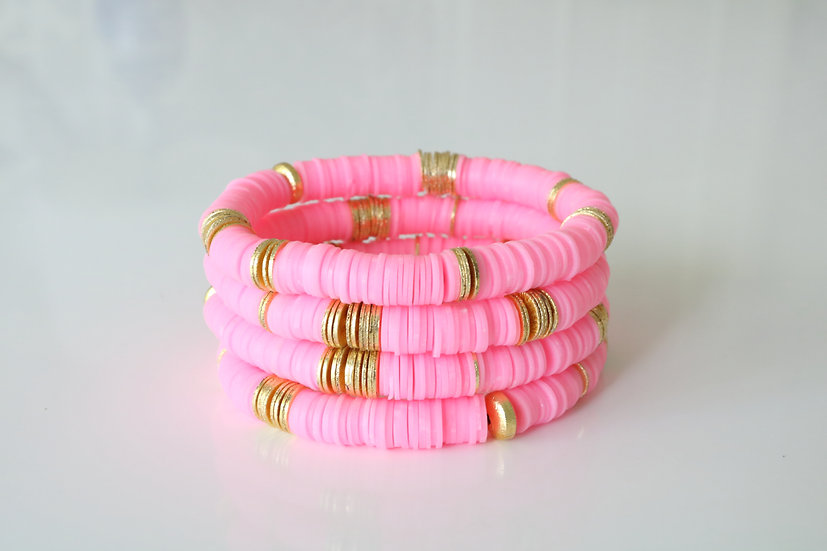 Bright Pink with Gold Discs