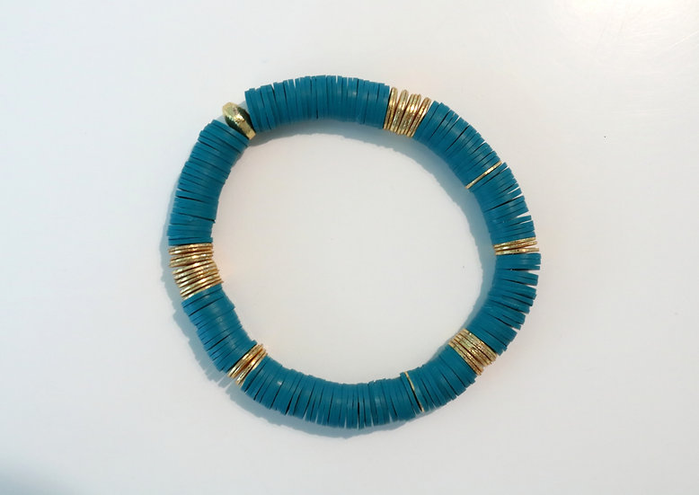Turquoise with Gold Discs