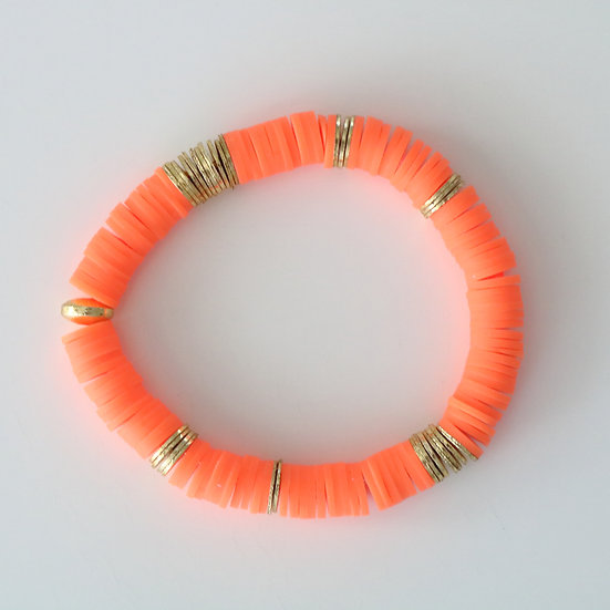 Bright Orange with Gold Discs