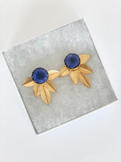 Blue stone floral earrings