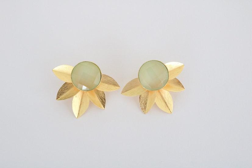 Mint floral earrings