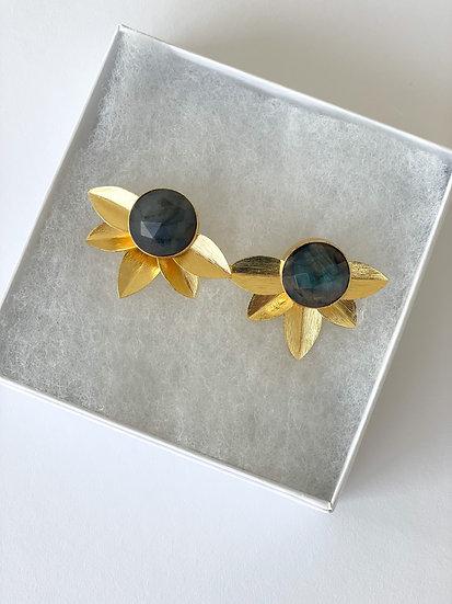 Labradorite floral earrings