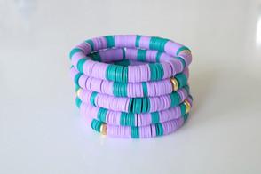 Turq and purple clay stack.JPG