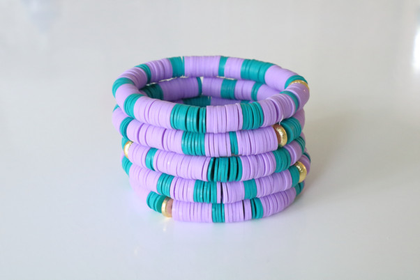 Turq and purple clay stack.JPG