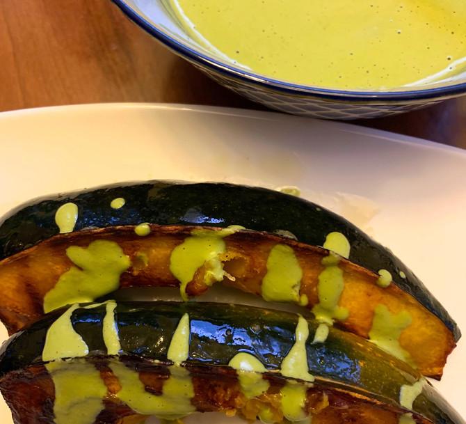Seared Acorn Squash with Pesto