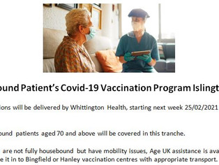 Housebound Patient's Covid-19 Vaccination Program Islington