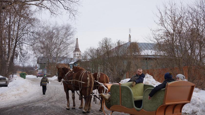 Russian horse carriage, troika