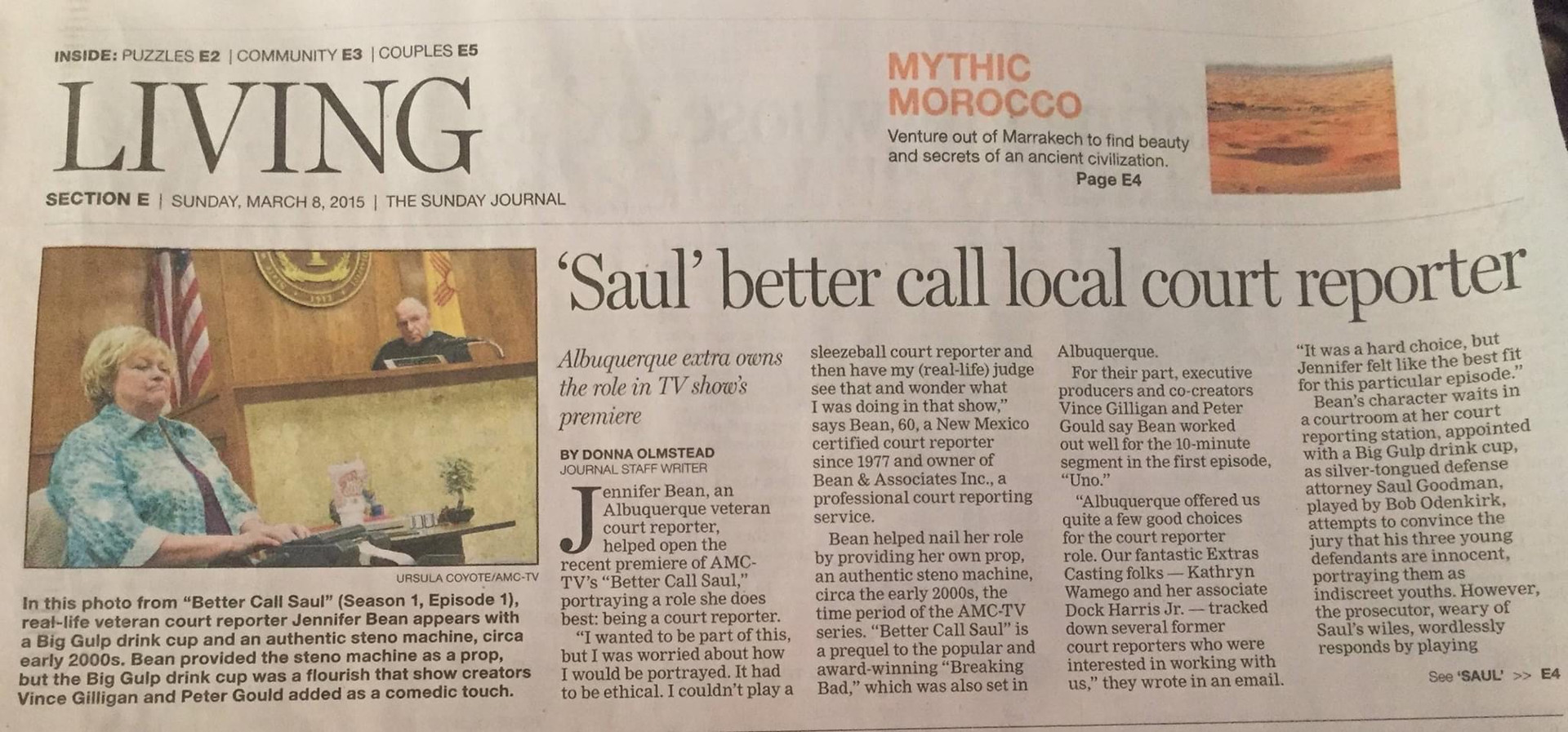 Newspaper article about Local Court Reporter acting on Better Call Saul!