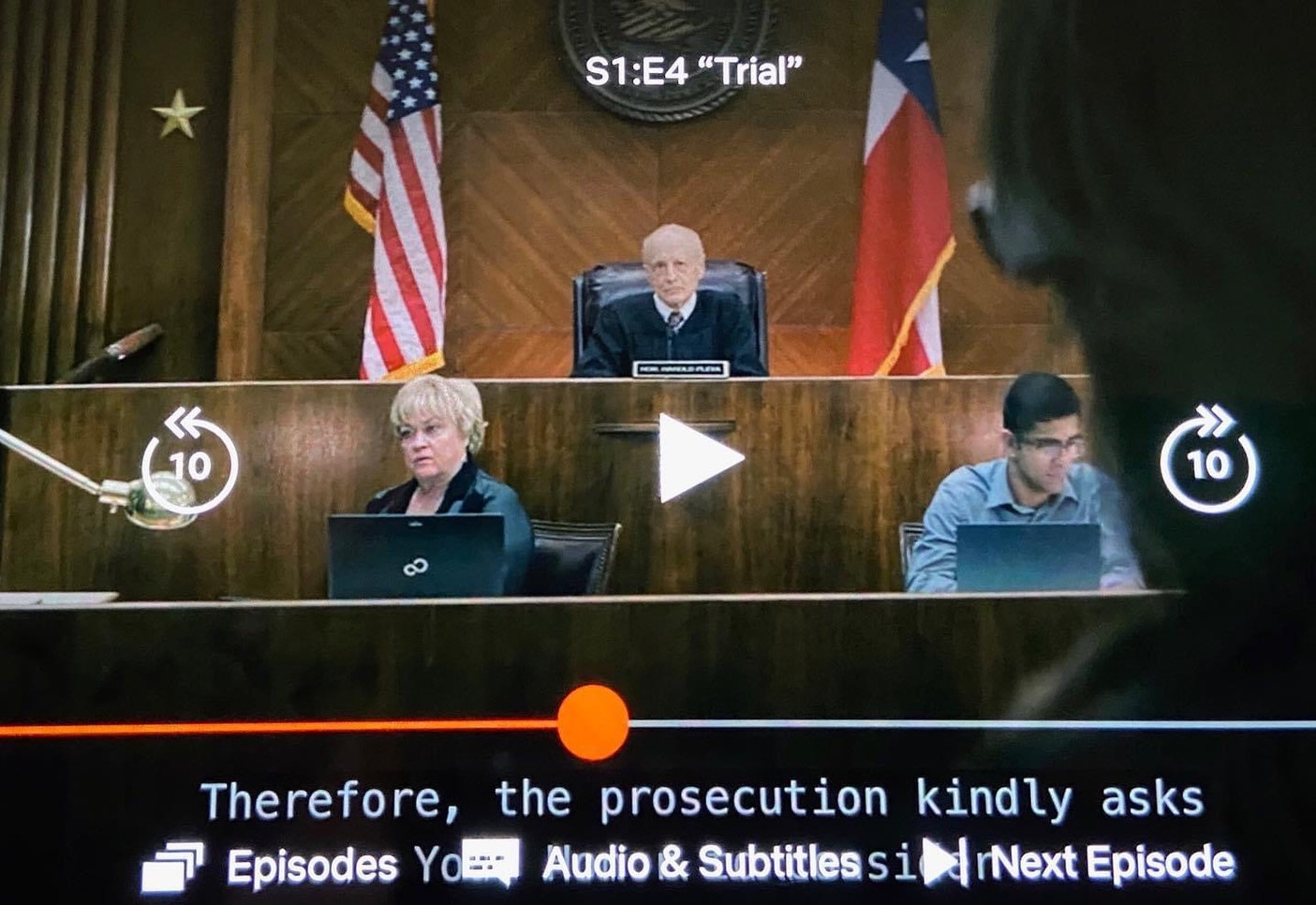 Jennifer Bean as a court reporter on Messiah Season 1 Episode 4