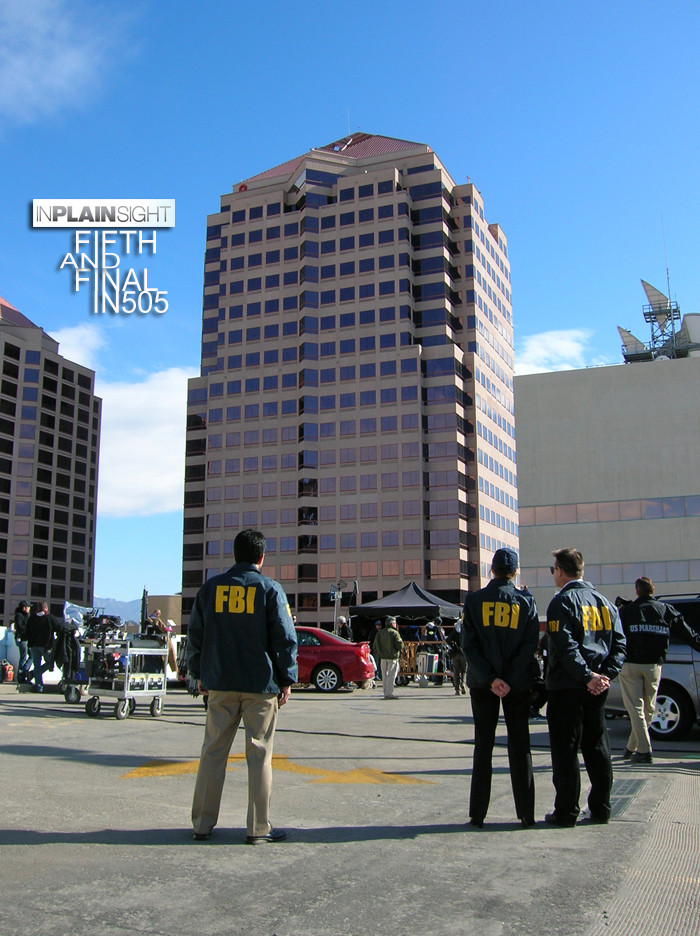 In Plain Sight - Hyatt office building during filming in Downtown Albuquerque 2011