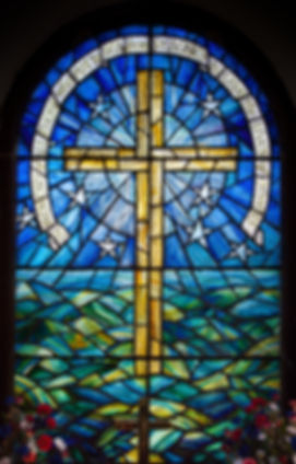 Stained glass window in a church on St A