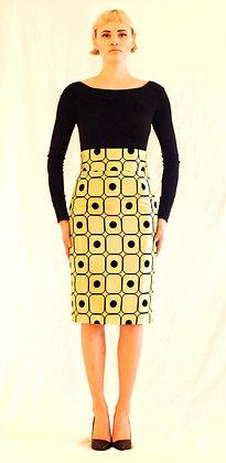 Lime Dots Pencil Skirt -