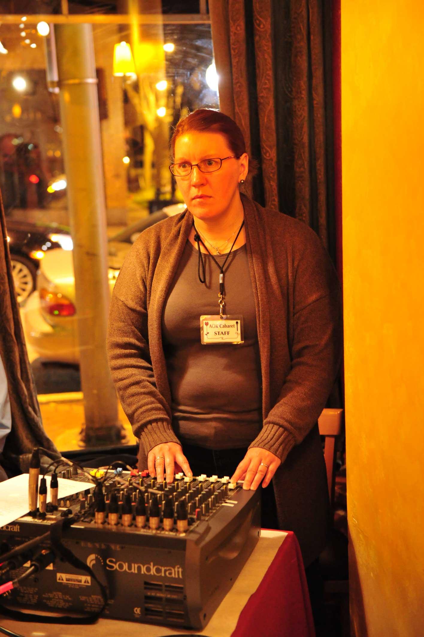Meg, working the sound board