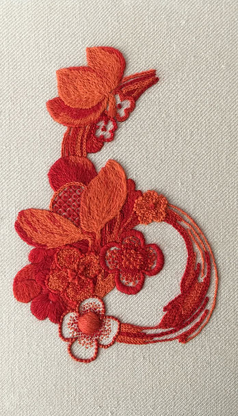 My Jacobean Crewelwork interpretation of a Grinling Gibbons wood carving. By Kate Pankhurst