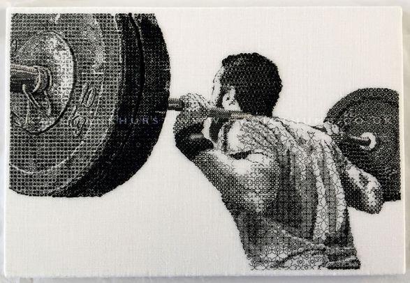 Blackwork stitch weightlifter