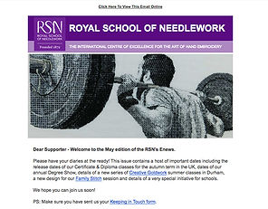 '80kg Blackwork used as a cover for the Royal School of Needlework eNewsletter