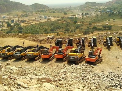 Our Fleet of Large Excavators at one of our Quarries extracting Natural Stone/Cobblestone of the best quality from beneath the Earth's surface