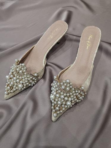 Luella Pearl Embellished Kitten Heel