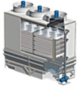 Vue interne d'une tour évaporative à circuit fermée