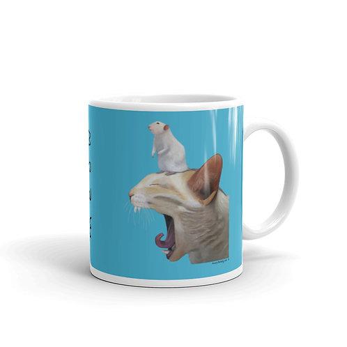 MEOW  Cat and mouse, original art mug, 11oz,15oz