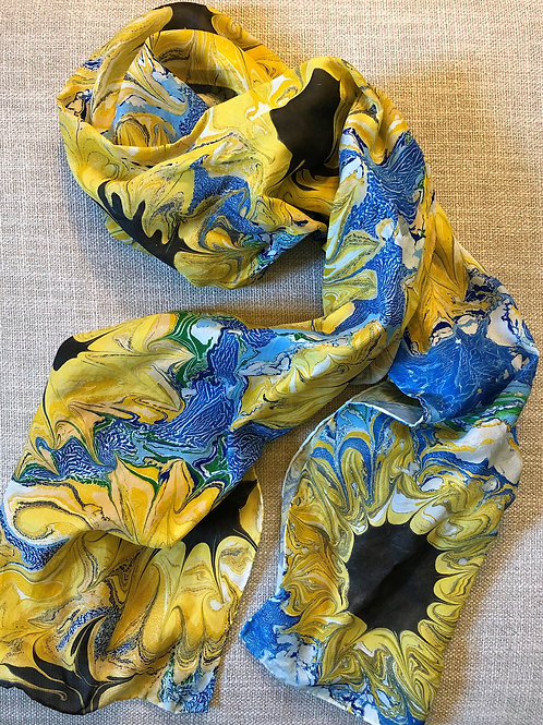Hand Marbled Silk Scarves