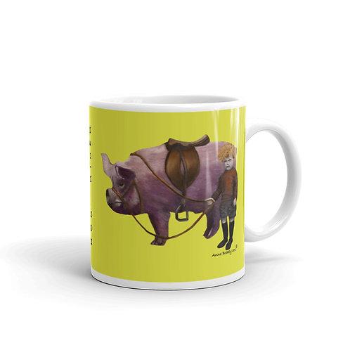 HOG RIDER,  pig original art mug, 11oz, 15oz,