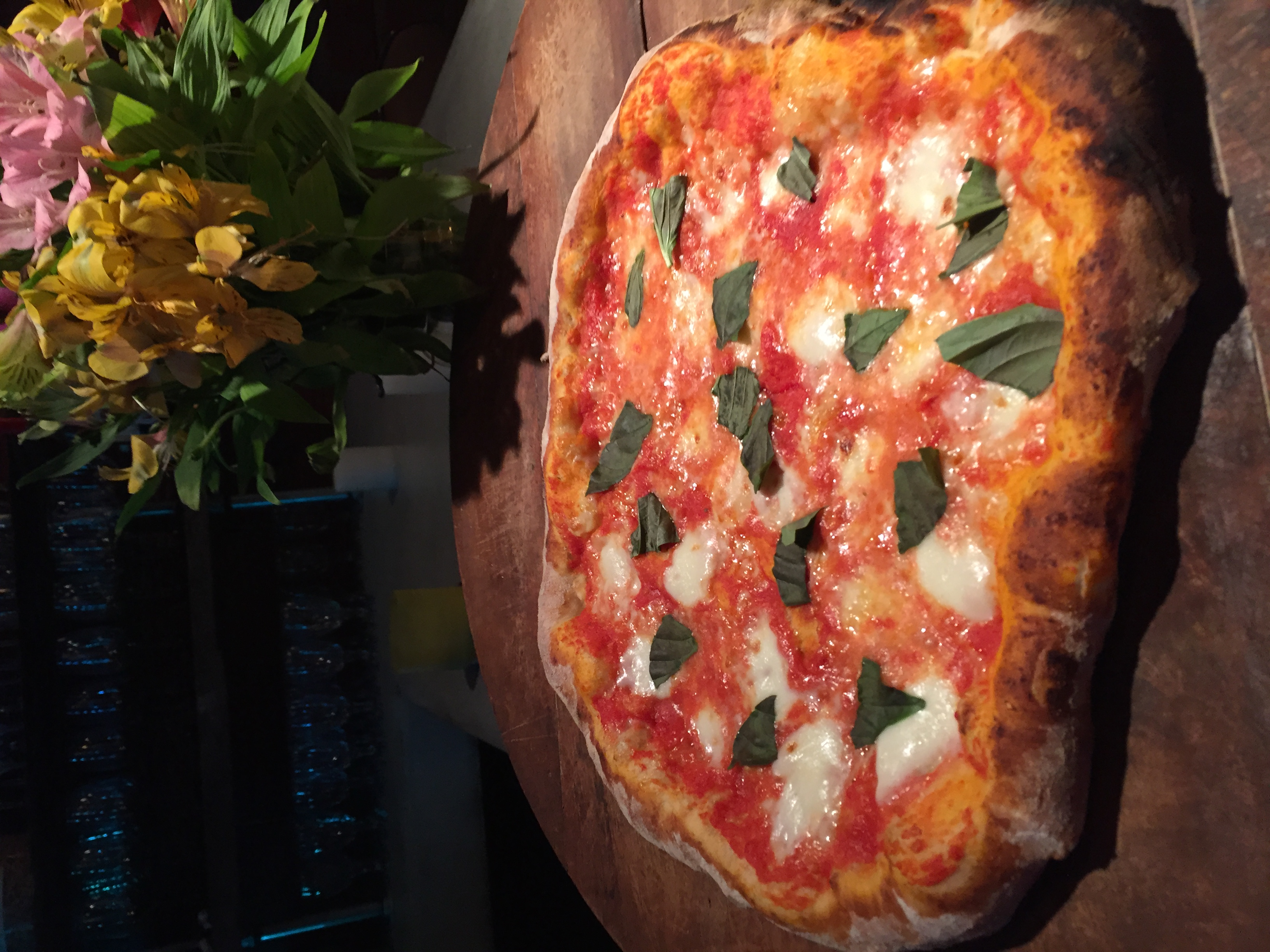 Margherita pizza on our bar