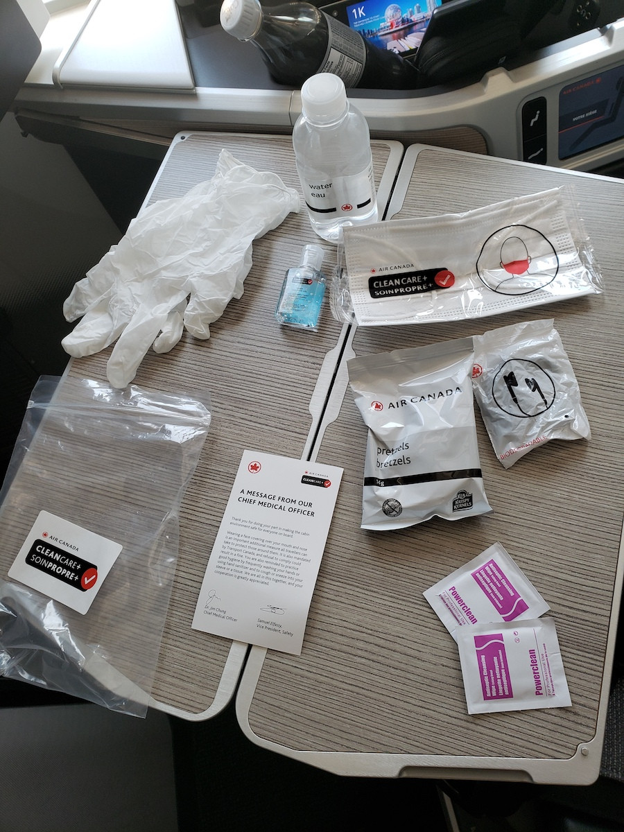 Air Canada in-flight COVID cleaning kit