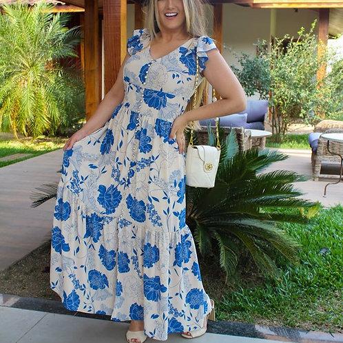 Vestido Lelê - Off e Azul