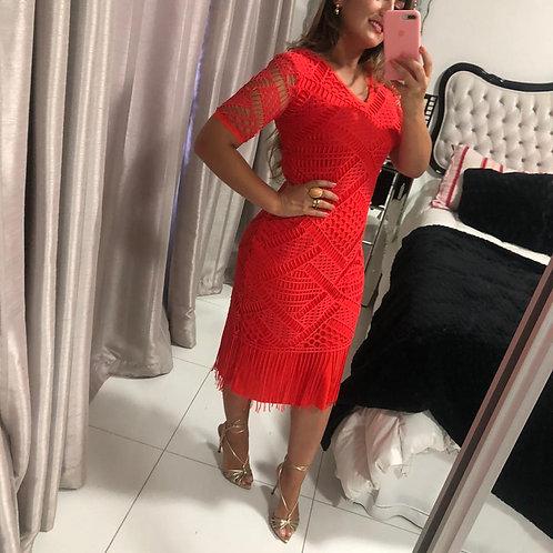 Vestido Midi Macramê Laranja