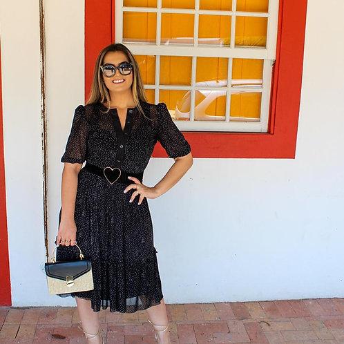 Vestido Midi Tule Mini Poá - Preto