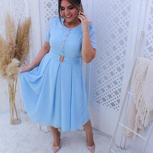 Vestido Midi Floquinhos - Azul