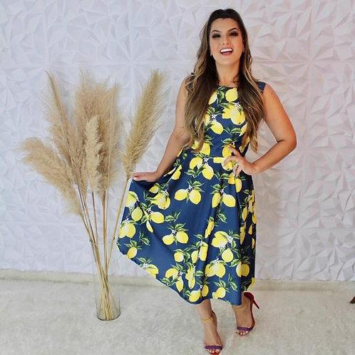 Vestido Midi Limão Siciliano Vibrante