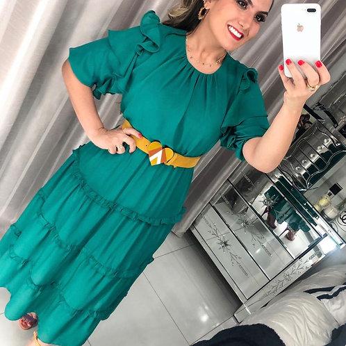 Vestido Longo Verde com babados