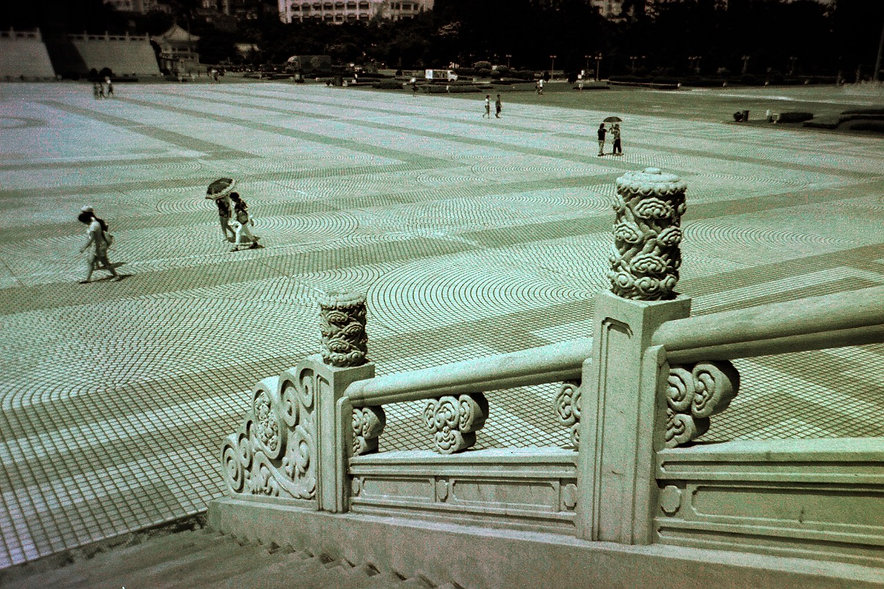 Yuqing Zhu film photography. Liberty Square in front of Chiang Kai Shek Memorial Hall in Taipei.