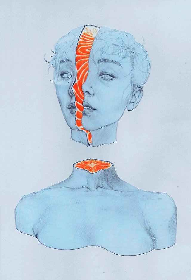 Art by Yuqing Zhu.  A self-portrait as salmon sashimi.
