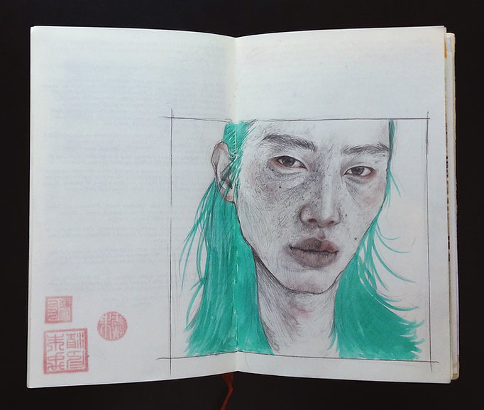 Yuqing Zhu's sketchbook and journal.  A pencil / graphite portrait of an east asian man.