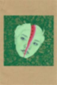 Art by Yuqing Zhu.  A self-portrait as watermelon.