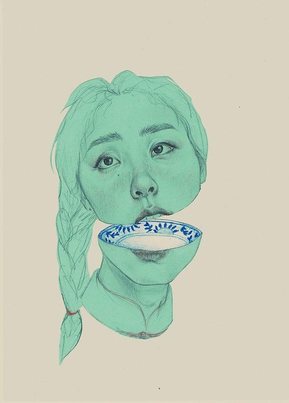 Art by Yuqing Zhu.  A self-portrait.
