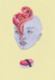 Art by Yuqing Zhu.  A self-portrait as octopus.