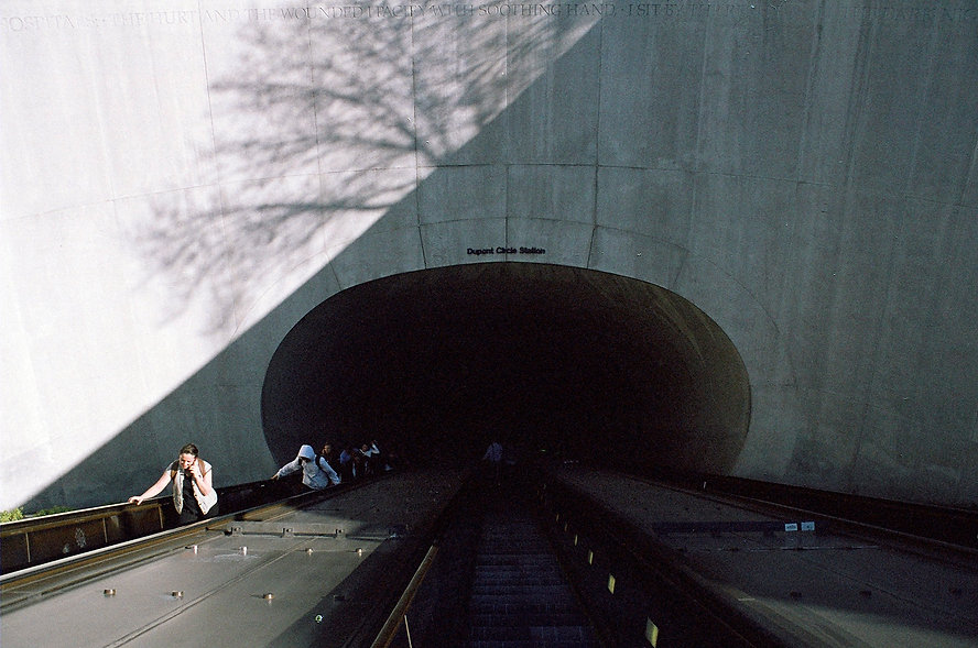 Yuqing Zhu film photography.  Washington D.C. Dupont Circle metro.